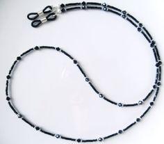 Black Swarovski Crystal Eyeglass Chain by BeaditudeBoutique - # Lanyard Necklace, Necklaces, Eyeglass Holder, Handcrafted Jewelry, Eyeglasses, Beaded Jewelry, Swarovski Crystals, Chain, Accessories