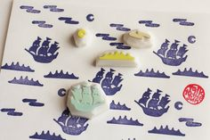 pirate sailing ship stamp set. vessel hand carved rubber stamp. silhouette boat ocean moon stamp. fairytale birthday scrapbooking. set of 4 by talktothesun on Etsy https://www.etsy.com/au/listing/215264023/pirate-sailing-ship-stamp-set-vessel