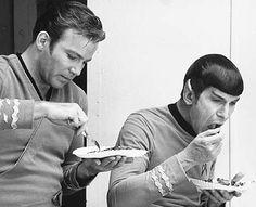 William Shatner and Leonard Nimoy having lunch on the set of Star Trek.