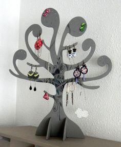 • Porte-Bijoux • Arbre gris de YusYus Créations sur DaWanda.com