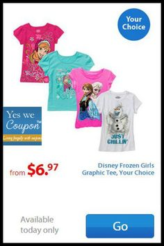 HOT! Disney Frozen Girl's Tee's Only $6.97 At Walmart!  - http://yeswecoupon.com/hot-disney-frozen-girls-tees-only-6-97-at-walmart/