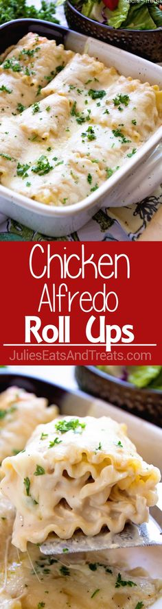 Chicken Alfredo Rollups ~ Creamy and Delicious! Lasagna Noodles Stuffed with Chicken, Cheese and Garlic Alfredo Make for a Quick and Delicious Dinner! dinner ideas for christmas I Love Food, Good Food, Yummy Food, Tasty, Pot Pasta, Pasta Dishes, Chicken Alfredo Lasagna, Lasagna Chicken Roll Ups, Chicken Alfredo Roll Up Recipe