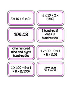 Place Value Decimals Match | Expanded form, Game of and Memories