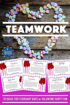 Included are 10 games and team building activities for the upper elementary classroom printed on colorful task cards. Perfect for holiday parties and February stress relief! day party for teens Valentine's Day Party Activities Valentinstag Party, Team Bonding Activities, Party Activities, Valentines Day Date, Valentines Day Activities, 21st Birthday Decorations, Valentines Day Decorations, Day Party Outfits, Valentine's Day Party Games