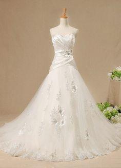 White Chapel Train Strapless Wedding Dress