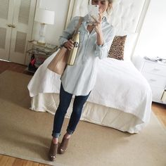 how to wear a denim shirt // chambray shirt with denim // denim on denim outfit // @brightonkeller mirror selfie
