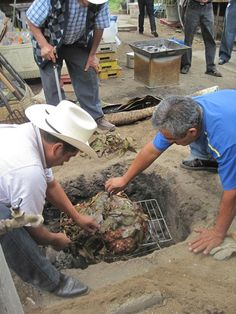 Barbacoa in mesquite- fired pit, in the ground.
