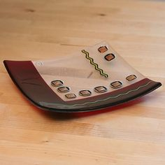 Fused Glass Plates | Wine and Wiggles Fused Glass Plate - Jellybug Artworks