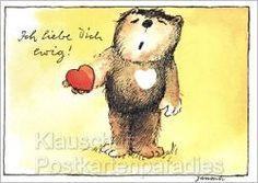 Janosch Bär Postkarte - Ich liebe Dich ewig! Liebesspruch Herz