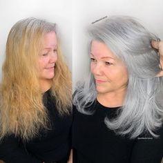 ᒍᗩᑕK ᗰᗩᖇTIᑎ (@jackmartincolorist) • Instagram photos and videos Grey Hair Transformation, Curly Hair Styles, Natural Hair Styles, Grey Hair Inspiration, Gray Hair Highlights, Transition To Gray Hair, Silver Hair, Dyed Hair, Hair Color