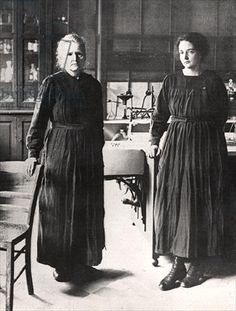 Madame Curie and her daughter, Irene, in their  laboratory, 1924