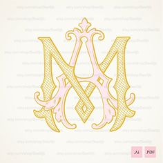 Wedding logo MA,AM | Vintage Monogram | Wedding Clip Art