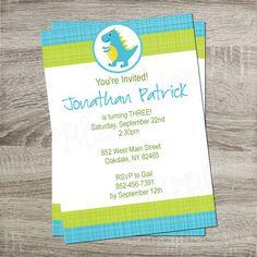 Printable Birthday Party Invitation - Blue & Green Dinosaur Boy or Girl Birthday 5x7 Invitation http://www.etsy.com/shop/PurpleConfettiPapers