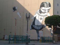 Street mural made of paper.