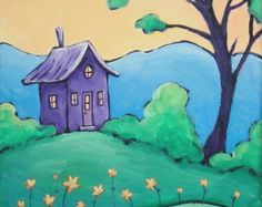 Tiny Purple Retreat  - Original Art Painting on Canvas - Free Shipping in US