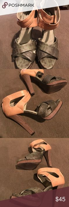 Elizabeth and James heels Elizabeth and James heels in good condition tan and green with light wear  with 5 inch heel Elizabeth and James Shoes Heels