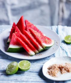Australian Gourmet Traveller fast recipe for chilled watermelon wedges with chilli-lime salt.