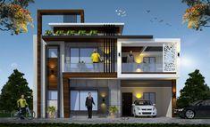 Duplex House Design, House Front Design, Small House Design, Cool House Designs, Modern House Design, Model House Plan, My House Plans, Morden House, Residential Building Design