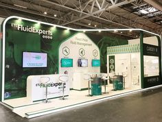 Fluid design with seamless lighting feature linking all areas of this exhibition stand design. Semi-private meeting area, large effective branding with to the point messaging on back wall. Large screens to clearly deliver the exhibitors message. Designed and built by MxL.
