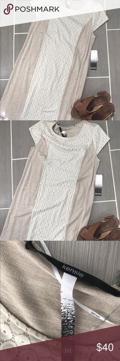 NWT - Kensie Tan w/ Floral Lace Stretch Dress - M Kensie Brand comfy dress for work or play!  This dress is a size Medium and has a lot of stretch to the fabric.  Wedged not for sale. Kensie Dresses Midi