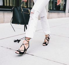 white raw hem jeans, lace up peep toe sandals