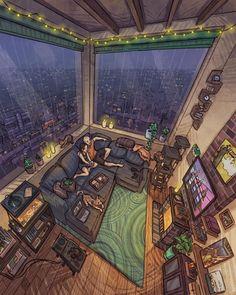 Aesthetic Art, Aesthetic Anime, Mansion Foster, San Myshuno, Jr Art, Japon Illustration, House Drawing, Sims House, Scenery Wallpaper