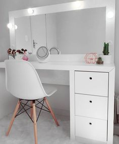 Minimalist Bedroom Decorating Ideas For Small Spaces Makeup Room Decor, Makeup Rooms, Cute Bedroom Ideas, Cute Room Decor, Stylish Bedroom, Modern Bedroom Design, Minimalist Bedroom, Dream Rooms, Home Decor Bedroom