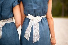 lace ribbons for bridesmaids! wow, Okay so I totally would of never though to do jean material dress for bridesmaid if i wanted a a country wedding it would go perfect with my lacy country dress