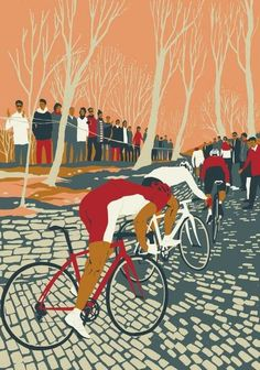 Spring Classics: Tour Of Flanders by Eliza Southwood – hornseys Art And Illustration, Illustrations Posters, Vintage Cycles, Vintage Bikes, Bike Poster, Bicycle Race, Bike Rides, Mtb Bike, Road Bike