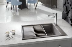 BLANCO PRECIS Medium Single-Wow, look at this sink. It seems ideal for a prep sink in the island. I wonder if that little shelf would hold water that would make it a problem with a wood c-top or not. Kitchen Sink Design, Kitchen And Bath, Kitchen Sinks, Kitchen Designs, Blanco Sinks, Deep Sink, Double Bowl Sink, Beach House Kitchens, Houses