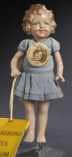 Shirley Temple Doll with The World's Darling Button, Jointed All Composition with molded and painted socket head, five-piece composition body in period outfit, tall Z Period Outfit, Doll Stuff, Antique Dolls, Temple, Composition, Auction, Antiques, Children, Art