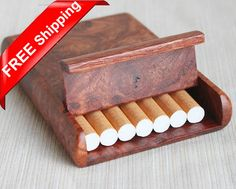 Premium Rosewood Burl Cigarette Box Card Case Suitabile For 7 Cigarettes