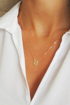 Delicate and modern, I love it! TRIO TRIANGLE NECKLACE - Christine Elizabeth Jewelry™
