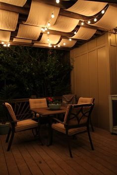 Looking for a creative way to hang those string lights in your backyard? Create a canopy effect to help reflect the light better.
