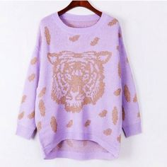 Cool Gold Tiger Pattern Round Neck Long Sleeve Sweater $28.69