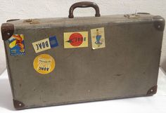 Vintage c 1950 s Suitcase with Vintage Travel Labels - Key Included