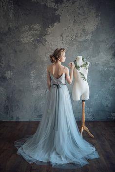 Bluish gray wedding dress - Borgia