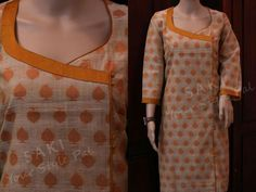 Yellow motifs on off white kurta Churidar Neck Designs, Kurta Neck Design, Salwar Designs, Kurti Designs Party Wear, Neck Designs For Suits, Neckline Designs, Dress Neck Designs, Blouse Designs, Salwar Pattern