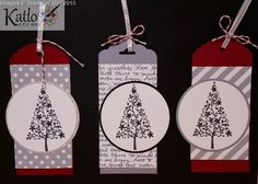 Festival of Trees Stampin' Up! Gift tags. Handstamped, Scallop  Tag Topper Punch, Ornate Tag Topper Punch