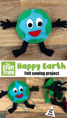 This is an easy felt sewing project for kids with a free printable template. A fun craft for Earth day! Bee Crafts For Kids, Sewing Projects For Kids, Sewing For Kids, Art For Kids, Sewing Crafts, Art Projects, Art Activities For Toddlers, Creative Activities For Kids, Earth Day Activities