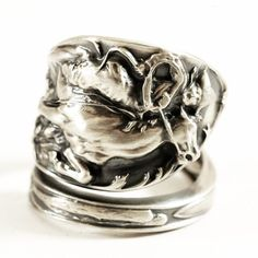 Western Cowboy on Horse Roping a Bull Souvenir Sterling Silver Ring, Weidlich Spoon ca. 1910, Handcrafted Gift, Customized Ring Size (5563) by Spoonier on Etsy