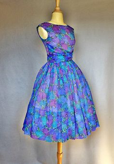 vintage 50s party dress / blue chiffon 1950s by bitterrootvintage, $295.00