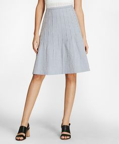 d99e5a3c9a59 Brooks Brothers Striped Stretch Cotton Seersucker Skirt