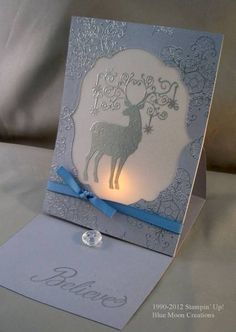 Candlelight Glow Christmas Deer by Bluemoon - Cards and Paper Crafts at Splitcoaststampers