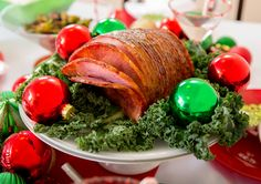 """A Brown Sugar Glazed Ham on our 13"""" Tiered Platter in White.  A fabulous Christmas Tabletop from The Happy Hostess! Check out our blog for Christmas Party Ideas and tips! www.thehappyhostessonline.com"""