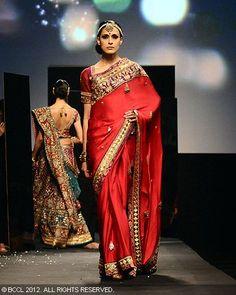 Red sari by Ritu Kumar