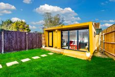 This garden room consists of a kids playroom, combined with a gorgeous office setting. Perfect for being near the children whilst they play. Summer Houses, Garden Studio, Garden Office, Playroom, Kids Room, Green, Game Room Kids, Room Kids, Game Rooms