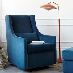 west elm offers modern furniture and home decor featuring inspiring designs and colors. Create a stylish space with home accessories from west elm. Best Chairs Glider, Glider And Ottoman, Glider Chair, Living Room Seating, Living Room Chairs, White Armchair, Gliders, West Elm, Contemporary Furniture