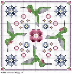Hummingbird+Biscornu+Chart.JPG (732×757)