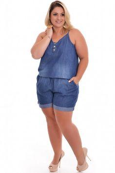 Macaquinho Plus Size Jeans Xtra Plus Size Jeans, Plus Size Work, Plus Size Fall, Plus Size Swim, Moda Plus Size, Plus Size Clothing Stores, Fashionable Plus Size Clothing, Plus Size Fashion, Plus Size Dresses
